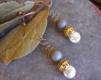 Dangle Earrings,Silver Earrings,Pearls Earrings,Silver  Jewelry,Hematite,Earrings,Birthday Gift,Gold Earrings,Woman Gift,Drop Earrings