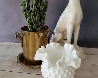 Fenton Hobnail Milk Glass Vase/ Fenton Hobnail Milk Glass Basket/ Milk Glass Bowl/ Double Ruffle Milk Glass/ Wedding Centerpiece/ Small Vase
