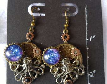 Silver Octopus of the Galaxy; Steampunk Inspired Earrings