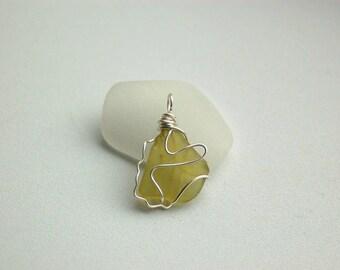Unique Yellow Sea Glass/ Sea Glass Pendant/ Wire Wrapped Pendant
