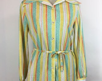 Vintage Striped Blouse 1960s Polyester Belted Tunic Yellow Turquoise Multi Color