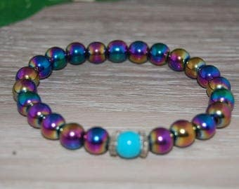 Magnetic Hematite Bracelet,Rainbow Multicolor Magnetic Beads,Health,Healing,Relieve,Protection,Meditation,Yoga,Energy,Stretch,Man,Woman,Gift