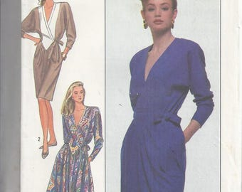 Simplicity Pattern # 8736 from 1988: V-Neck Dress with Full Skirt.  Bust 31 1/2-34   UNCUT
