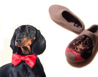 Personalized dog lover gift Custom felt dog portrait slippers Dachshund gift Original hand painted wool shoes