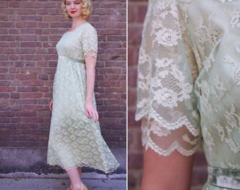 Vtg Long Soapy Green Lace Dress M //  Vintage Boho Party Lace Mintgreen Dress Wedding