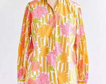 Pucci Shirt | Emilio Pucci Blouse | Vintage Pucci | Floral Blouse | 1960s 60s | Pink Printed | Sz. 10 | Pucci Florence