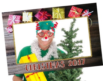 red and gold photo prop frame Christmas, Christmas photo booth prop, Christmas photo booth frame, Christmas party photo props, selfie frame