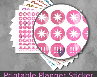 Printable Circle Stickers, Planner Stickers, hand drawn hearts design in 6 lovely background colors