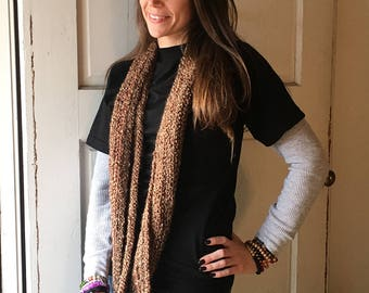 Brown Infinity Scarf, crochet
