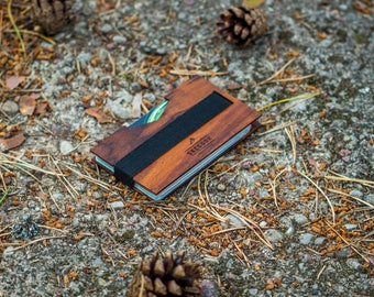 Handmade Minimalist Wallet, Men's Wood Wallet, Wooden Money Clip, Men stocking stuffer