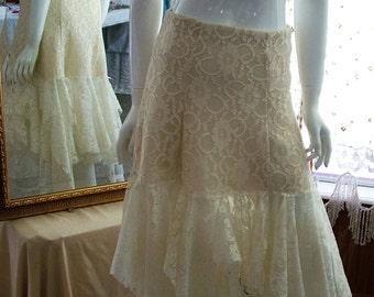 Ivory lace cottage chic skirt tattered shabby ragged bohemian one of a kind wedding skirt Size 6/8 elasticated waist