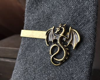 Fantasy Gifts Ideas for Geeks - Dragon Tie Clip - Mens Stocking Stuffer - Tie Clips Men Dungeon Master Dragon Tie Bar
