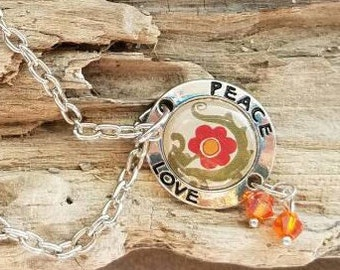Peace  & Love Charm Necklace with two Orange Jewels