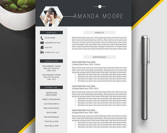 Professional Resume Template, CV Template, Cover Letter, Creative Resume, Modern Resume, 1 - 3 Page Word Resume Template, MS Word, Amanda M
