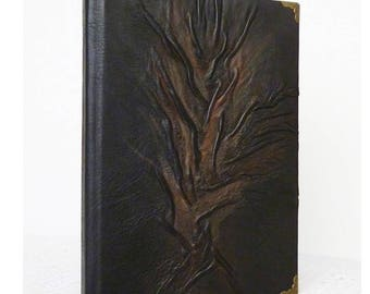Leather Journal, Black Diary, A5 Writing Journal, Tree of Life, Travel Book, Notebook, Christmas, Birthday Gift, Bucket List, Leather Art