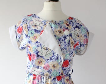Vintage 1980s Floral Party Dress, 80s Casual Midi Dress with Capped Batwing Sleeves, 1980s Summer Dress UK 12 Medium