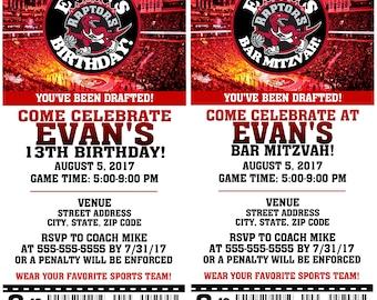 Printable Birthday Party Invitation Toronto Raptors Birthday Ticket Invitation Basketball Weddings Baby Showers Bar Mitzvahs
