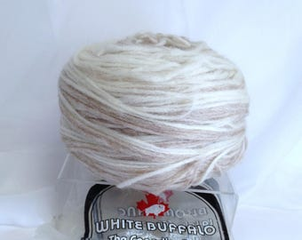 100% Real Pure Virgin Wool Fawn Blend White Buffalo Yarn Cake Thick Full Felting Yarn Destash Authentic Cowichan Sweater Yarn Made in Canada
