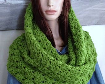Oversized Hoodie Cowl Scarf Thick Green Stretchy Shawlette Extra Wide Cowl Bright Apple Green Scarf for Her, Versatile Cowl READY TO SHIP