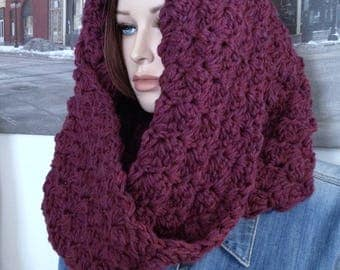 Crochet Scarf Handmade Winter Cowl Hooded Scarf Super Thick & Warm Cowl Scarf, Berry Burgundy Chunky Scarf for Her Ready to Ship
