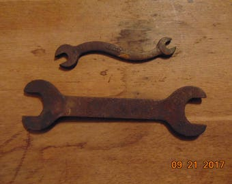 """2 Wrenches Curved Wrench Rusty Wrenches Old Tools """"S"""" Wrench CountryRoadBoutique"""