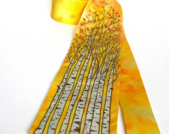 Birch tree tie, yellow tie, tree tie