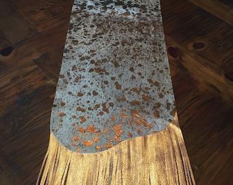 Metallic Hair On Acid Washed Cowhide Table Runner