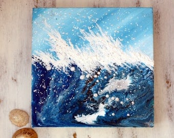 Swell !/sea/original painting/waves/painting on canvas/blue/ocean/bridget skanski-such/spatters/water/seascape/breaking waves/choppy sea