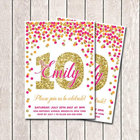 10th Birthday Invitation Hot Pink Orange And Gold Confetti