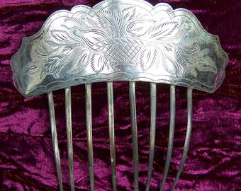 Early Victorian hair comb silver plated Spanish style hair accessory hair fork hair pick hair pin headdress headpiece