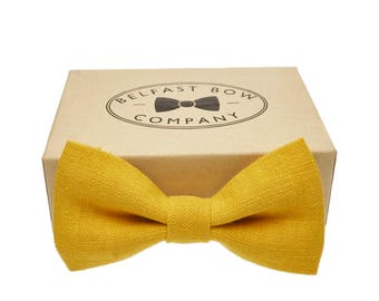 Irish Linen Bow Tie in Mustard Yellow - Adult & Junior sizes available