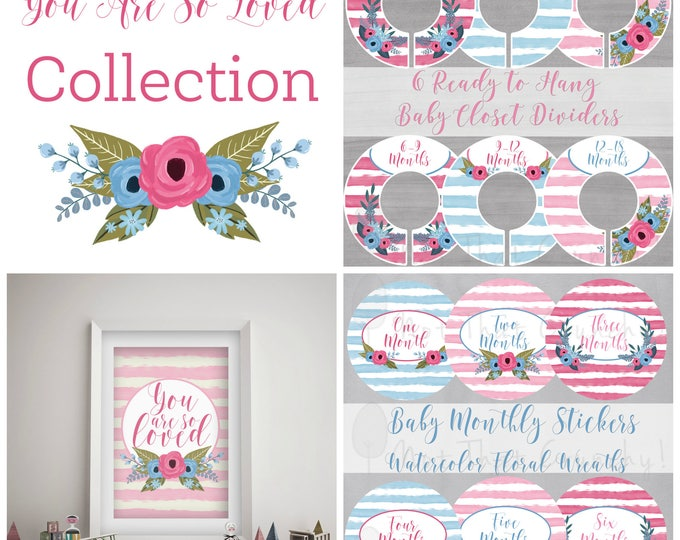 You are so Loved Baby Gift Bundle - Closet Dividers - Monthly Stickers - Art Print - New Baby Gift Set