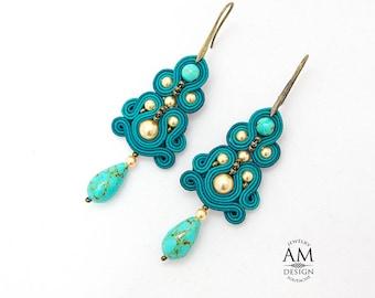 Romantic Earrings Turquoise Chandelier Earrings Statement Drop Bohemian Large Jewelry Boho Chic Earrings Beaded Soutache Earrings