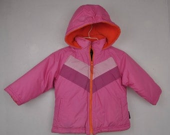 Weather Tamer Kids pink/orange fleece lined jacket // 3T coat //