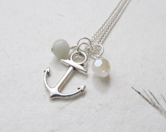 Anchor necklace, nautical necklace, hope necklace, refuse to sink