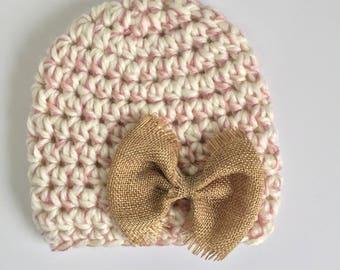 Burlap Bow Hat, Ready to Ship, Baby Girl Beanie, Crochet Hat Baby, Newborn Girl Hat, Baby Shower Gift Girl, Newborn Hat, Country Girl Hat