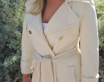 Vintage 1960's - 1970's Double Breasted Siari Creme Colored Long Coat with Gold Sailor Buttons Size L / XL