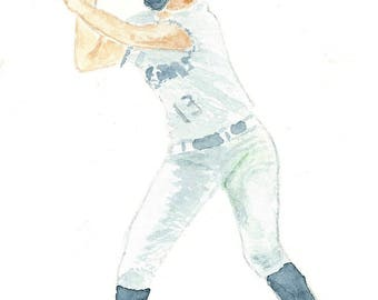 BATTER UP print of original watercolor 5 X 7 inches