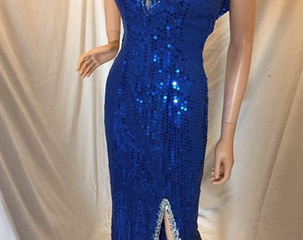 Vintage Dress Fantasy Formals Royal Blue Sequin Beaded Dress Long Formal Spaghetti Straps
