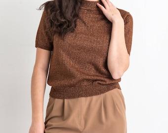 90s Brown Copper Thread Sweater