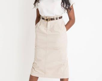 90s Khaki Pencil Skirt S
