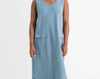 90s Dusty Blue Maxi Dress XL