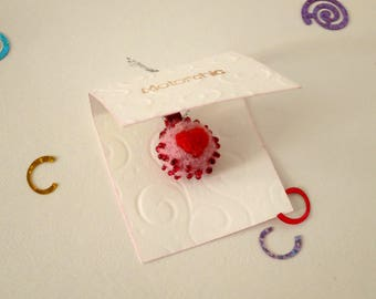"""Wool pendant """"Garnet Love"""", cute gift for her, pink jewelry with red heart, small needle felted pay attention"""