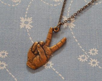 Peace Sign Antique Brass Pendant Necklace