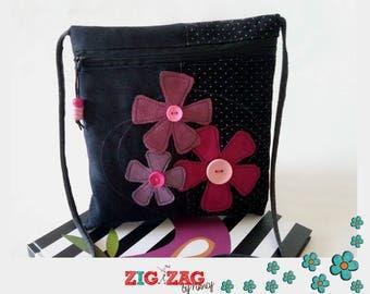 "Zippered shoulder cover""Bigkarre""black & purple ZigZag flowers"