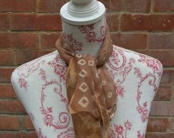 Sheer light brown and beige vintage headscarf/necktie