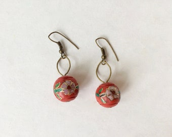 Red Cloisenné Earrings