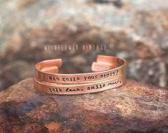 Alexander Hamilton Copper Cuff Bracelet | Who Tells Your Story Talk Less Smile More Broadway Musical Hand Stamped Gift