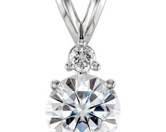 "14K White 6.5mm Round Forever One Moissanite & .05 CTW Diamond Pendant - 18"" Necklace - 1 Carat Charles and Colvard Forever One Moissanite"