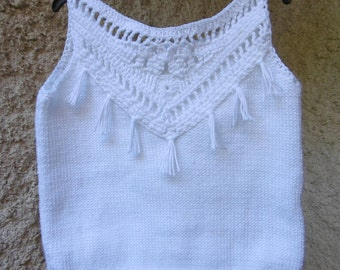 Knitted white girl cotton tank top